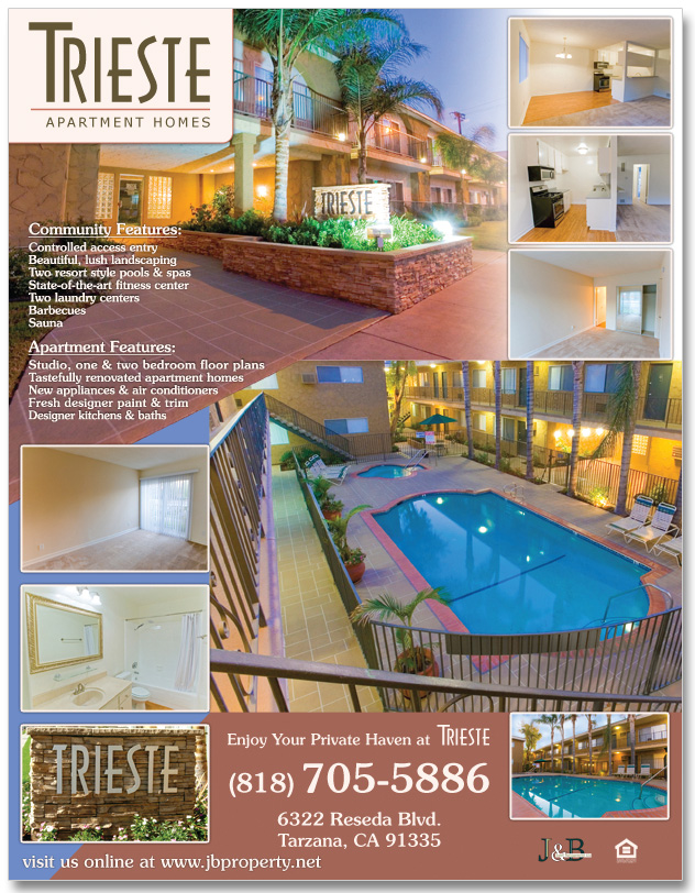 This flyer design was for an apartment community in Reseda, CA. We